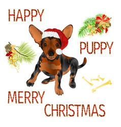 happy puppy dog santa merry christmas and new yar vector image