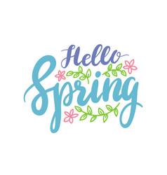 hello spring banner springtime season greeting vector image