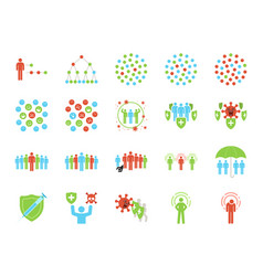 Herd immunity icon set vector