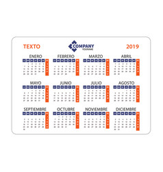 horizontal calendar 2019 in spanish week starts vector image