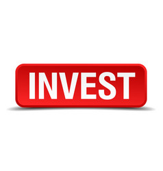 Invest red 3d square button on white background vector