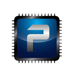 letter p icon technology smart logo computer and vector image