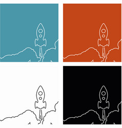 Line rocket icon on other background vector