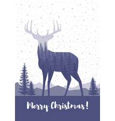 Marry christmas cards design silhouette a deer vector