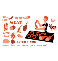 meat funny doodle set cute cartoon woman food vector image