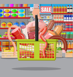 meat products in supermarket basket vector image