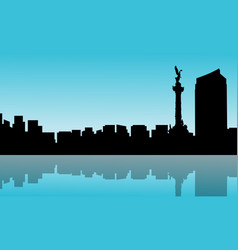 mexico city with reflection scenery silhouettes vector image