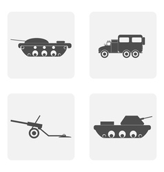 Monochrome icon set with tank vector