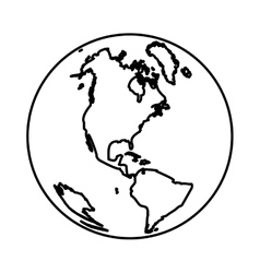 monochrome silhouette with world with view of vector image