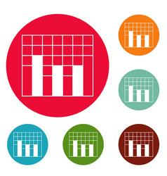 new graph icons circle set vector image