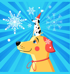 new year card funny dog vector image