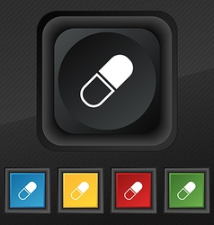 pill icon symbol Set of five colorful stylish vector image