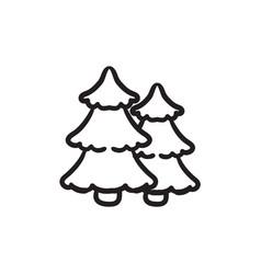 Pine trees sketch icon vector