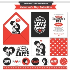 Printable set with couple in love and lettering vector image