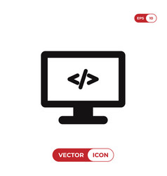 programming on monitor icon vector image