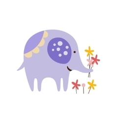 Purple Elephant Picking Flowers vector