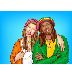 rastafarian subculture people pop art vector image