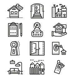 Rental of property line icons vector