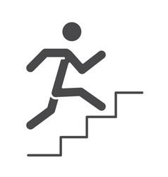 Running sport race man climbing stairs silhouette vector