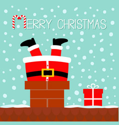 Santa claus stuck in the chimney on the roof gift vector