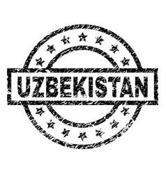 Scratched textured uzbekistan stamp seal vector
