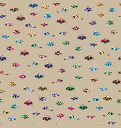 Seamless pixel art racing cars pattern vector