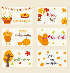 set autumn cards with different characters vector image