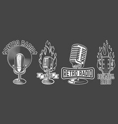 set emblems with old style microphone isolated vector image