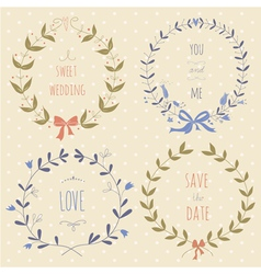 set hand drawn wedding wreaths vector image