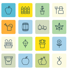 set of 16 agriculture icons includes floret vector image