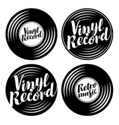 Set of music icons in the form of vinyl records vector