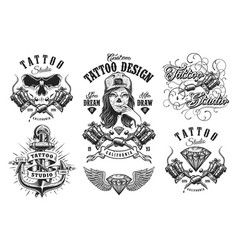 set of vintage tattoo emblems vector image
