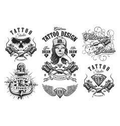 set vintage tattoo emblems vector image