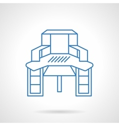Sewing table blue flat line icon vector image