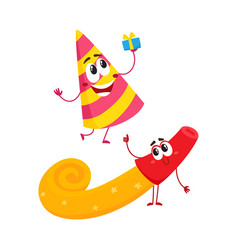 Smiling birthday party characters - spriped hat vector