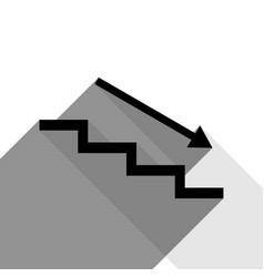 stair down with arrow black icon with two vector image vector image