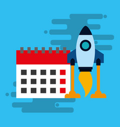 startup rocket with calendar isolated icon vector image