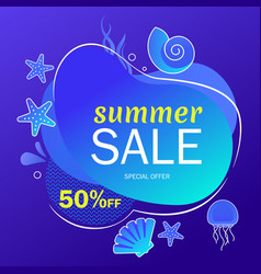 summer super sale underwater poster flyer layout vector image