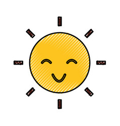 Sun character isolated icon vector