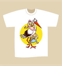 T-shirt print design stork with babies vector