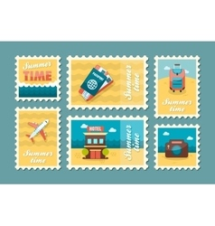 Traveling stamp set Summer Vacation vector image