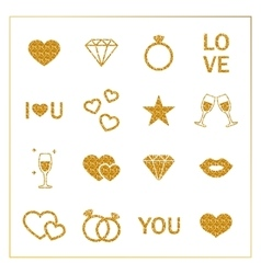 Valentine s day golden glitter design elements set vector image