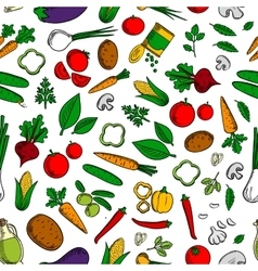 Vegetable salad ingredients seamless pattern vector
