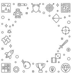 video games or game concept frame in thin vector image