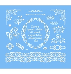 Vintage Floral Ornamental Elements and Frames vector image