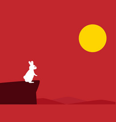 white rabbit on cliff with red background vector image