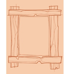 Wooden frame outline drawing vector
