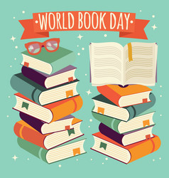 world book day open book on stack of books vector image