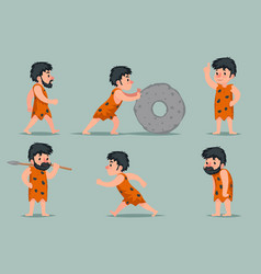 ancient cave man character different positions and vector image
