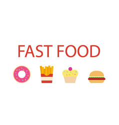 fast food flat design icons set vector image
